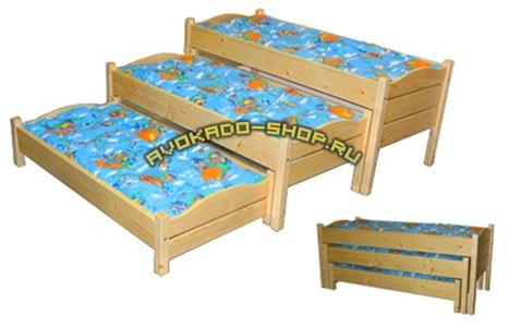 Кровать детская 2-х ярусная выкатная с тумбой.